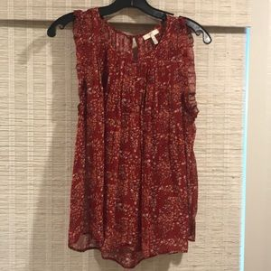 JOIE. Sleeveless cranberry print flowy top. M